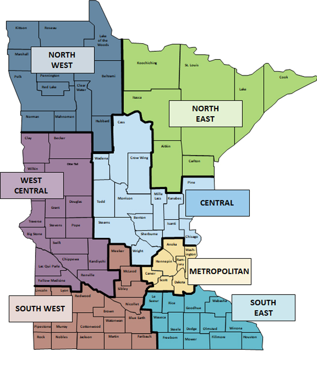 map of central minnesota Map Of Field Services Epidemiologists Minnesota Dept Of Health map of central minnesota