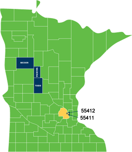 Map of Minnesota showing the urban and rural areas of the state in which the project will be conducted.