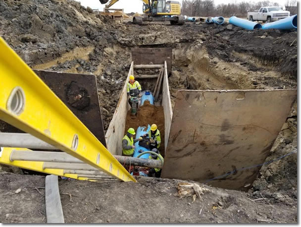 Trench packing and cathodic protection testing on the section of pipe between Adrian and Worthington.