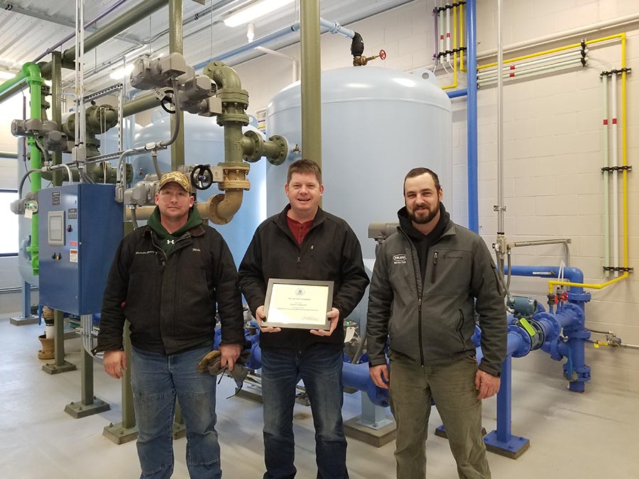 Randall water treatment plant and employees with EPA award
