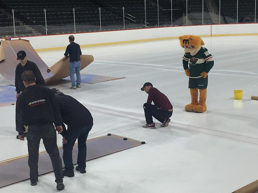 Lines painted on ice sheet at Xcel Energy Center
