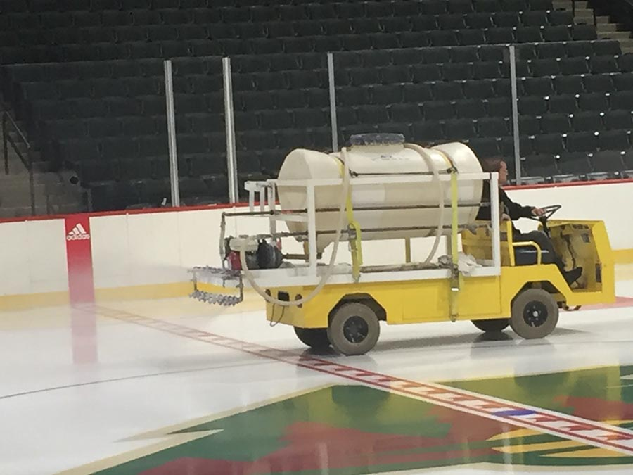 Applying the water for the ice