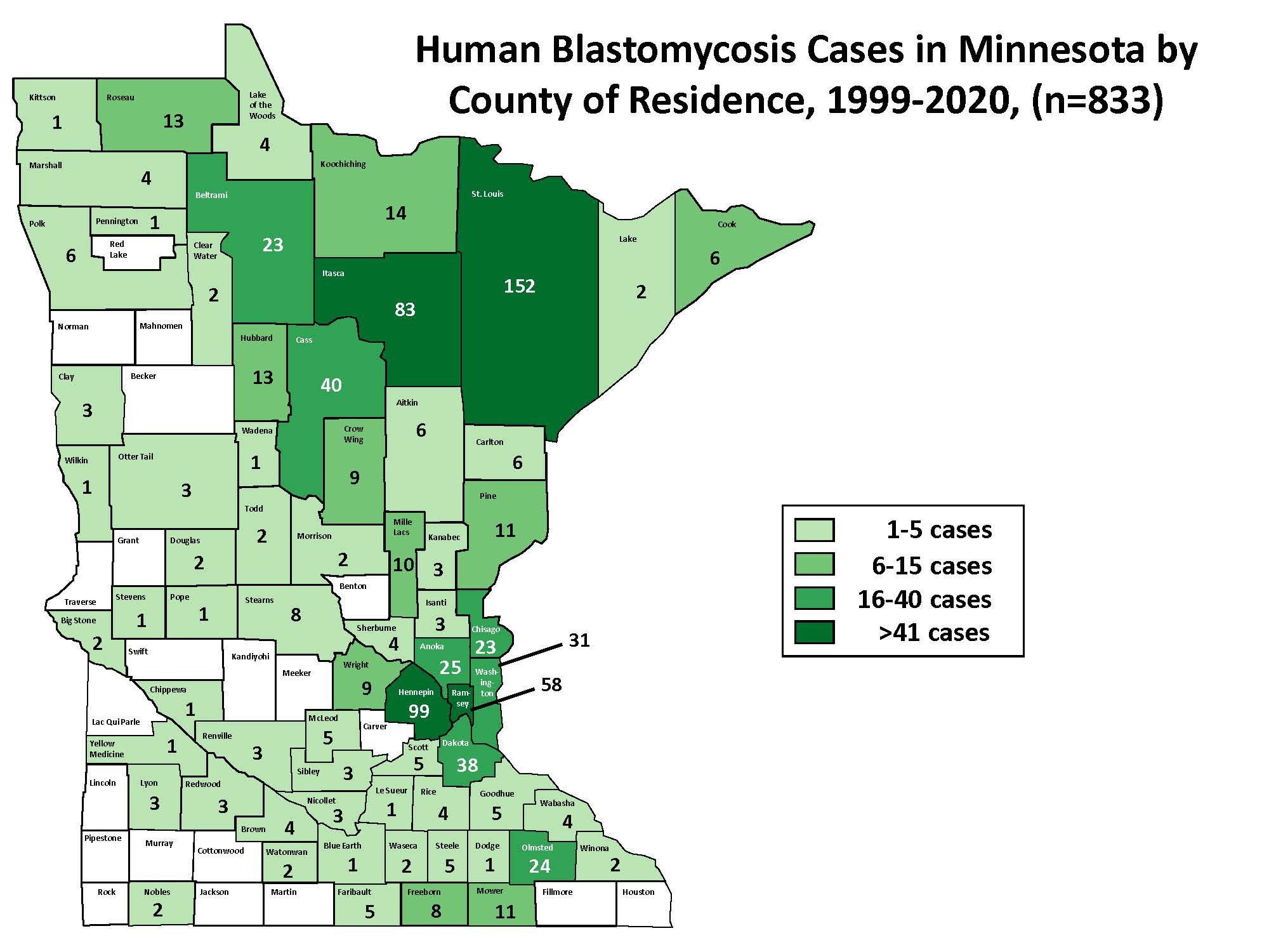 Blastomycosis Statistics and Maps - Minnesota Dept  of Health