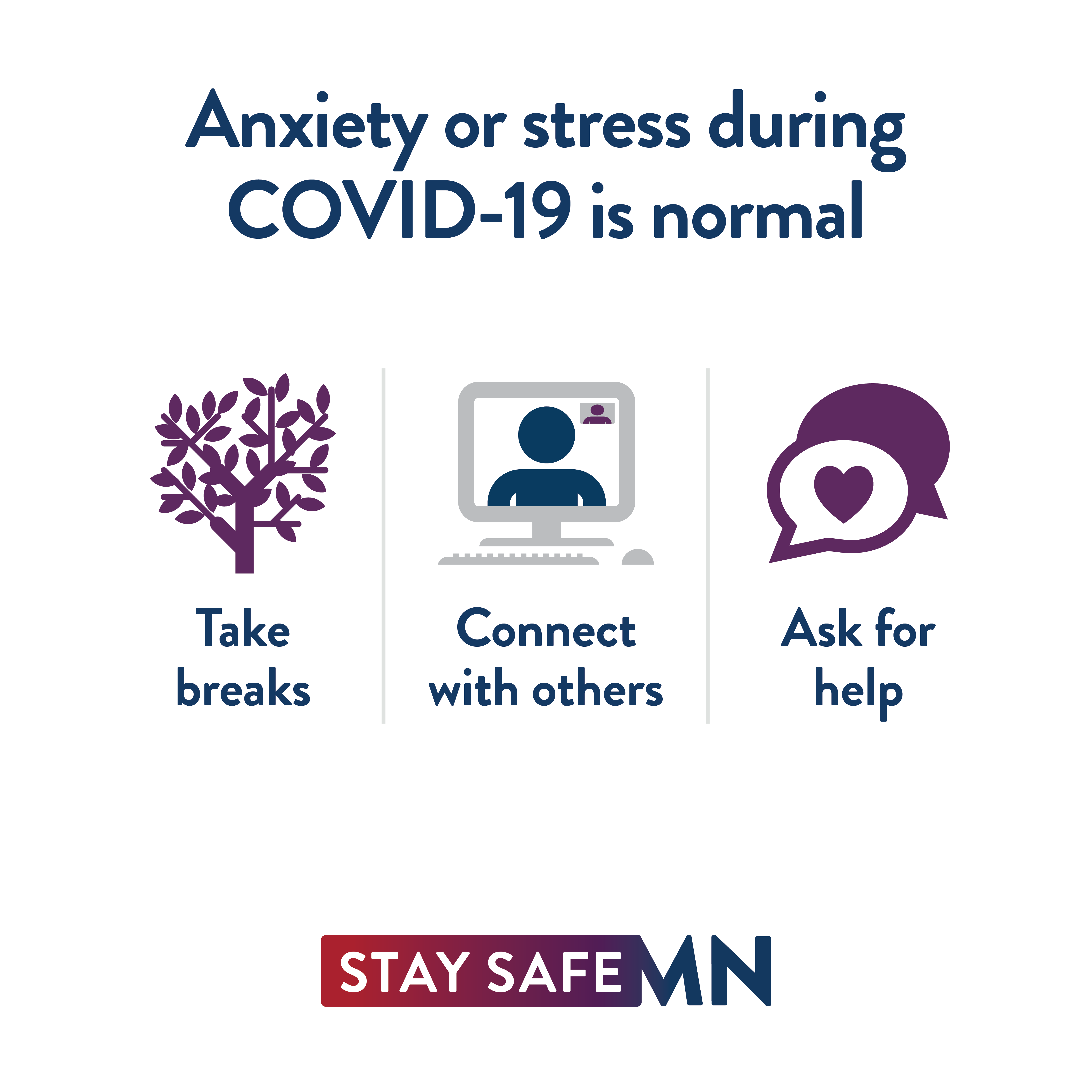Anxiety or stress during COVID-19 is normal. Take breaks. Connect with others via computers or phone. Ask for help.