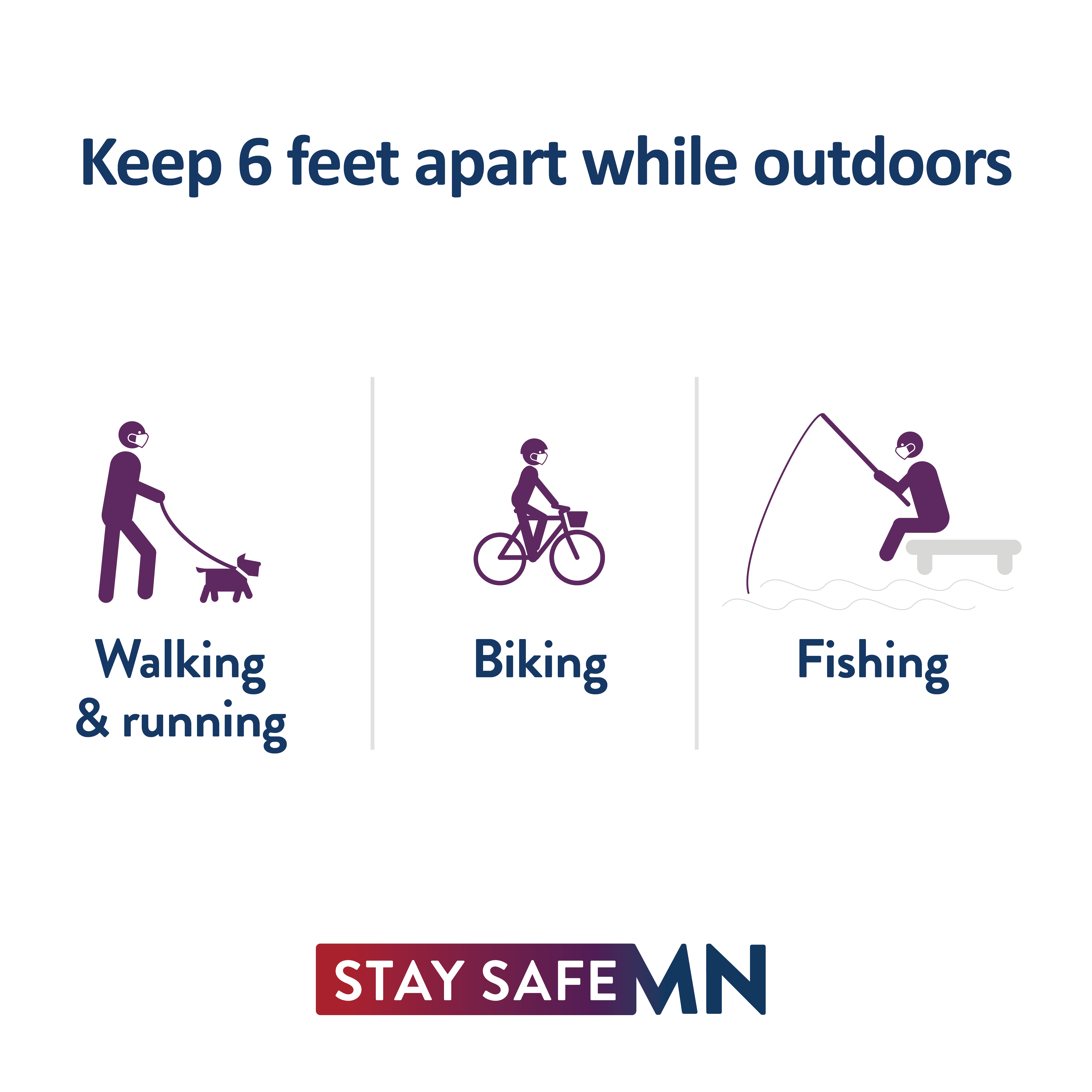Keep 6 feet apart while outdoors. Walking & running. Biking. Fishing.
