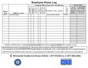 Employee Sign In Sheet | Employee Illness Log Minnesota Dept Of Health